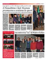 Il Panathlon Club Vicenza promuove e sostiene lo sport (16 gennaio 2015)