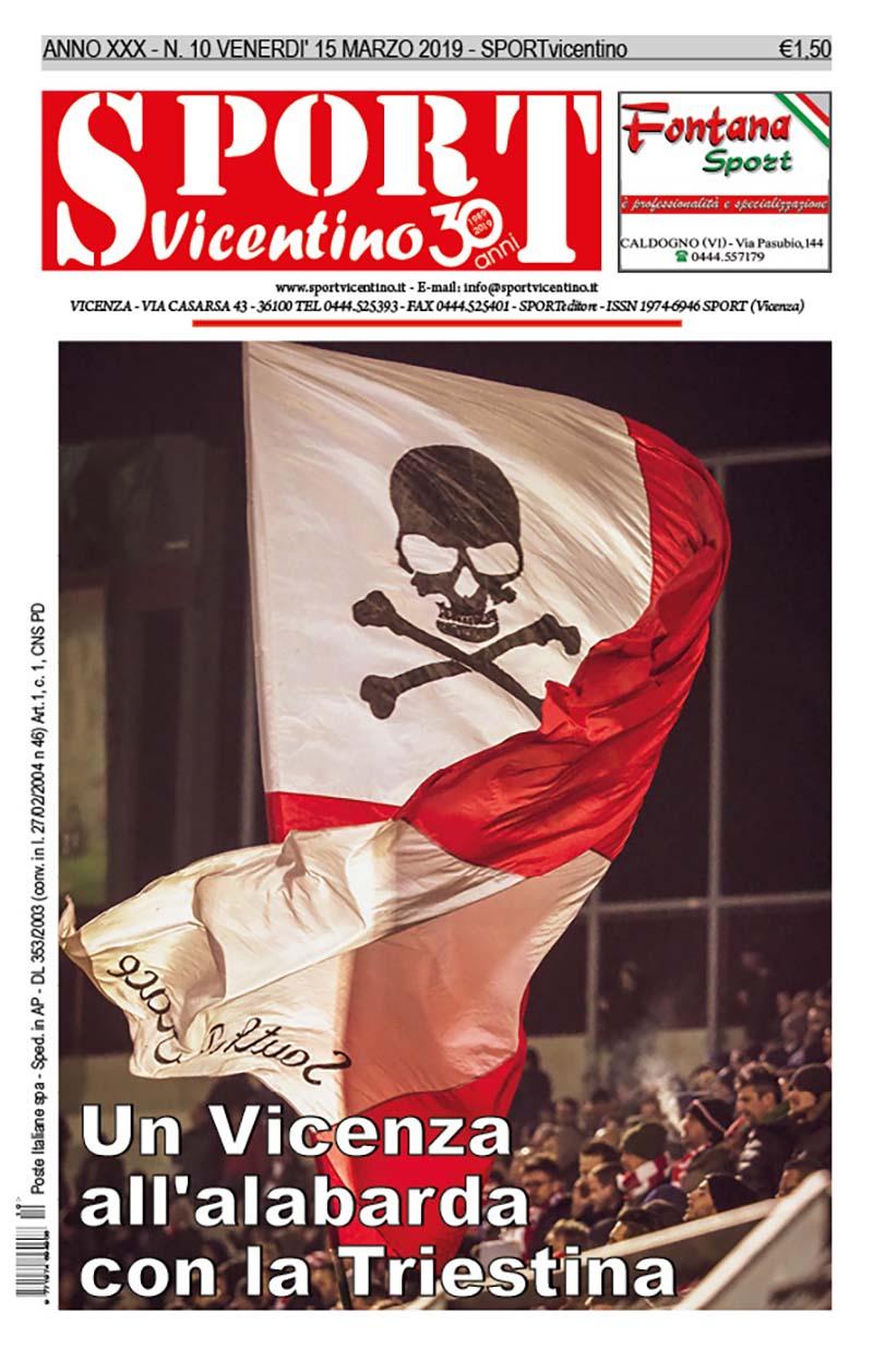 Prima pagina di SPORTvicentino in edicola da venerdì 15 marzo
