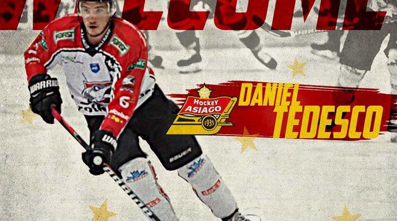 Daniel Tedesco firma con l'Asiago Hochey
