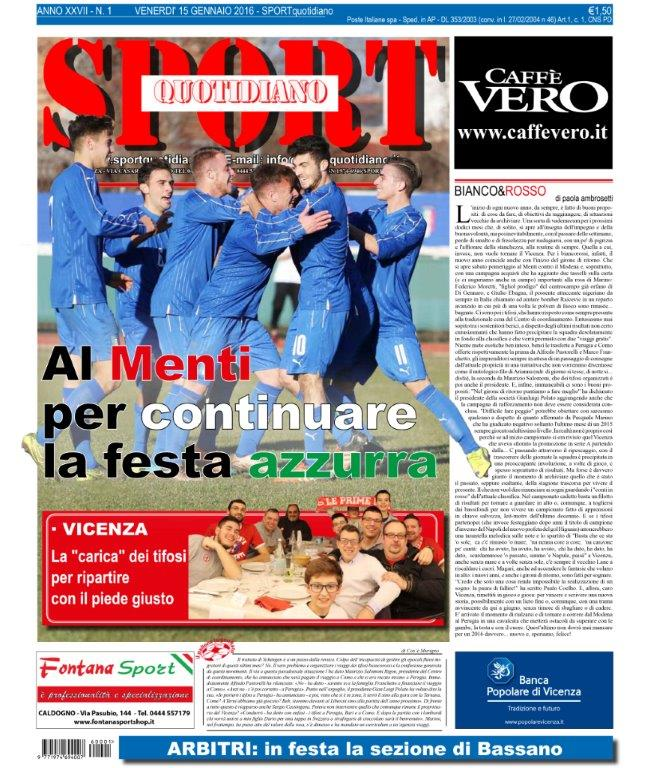 prima-pagina-sport-quotidiano-vicenza-15-gennaio-2016