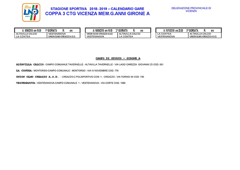 Calendario Vicenza.Calendari Lnd Vicenza Terza Categoria E Juniores