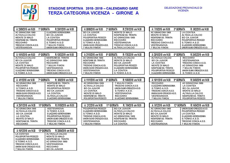 Calendario Marce Vicenza.Calendari Lnd Vicenza Terza Categoria E Juniores