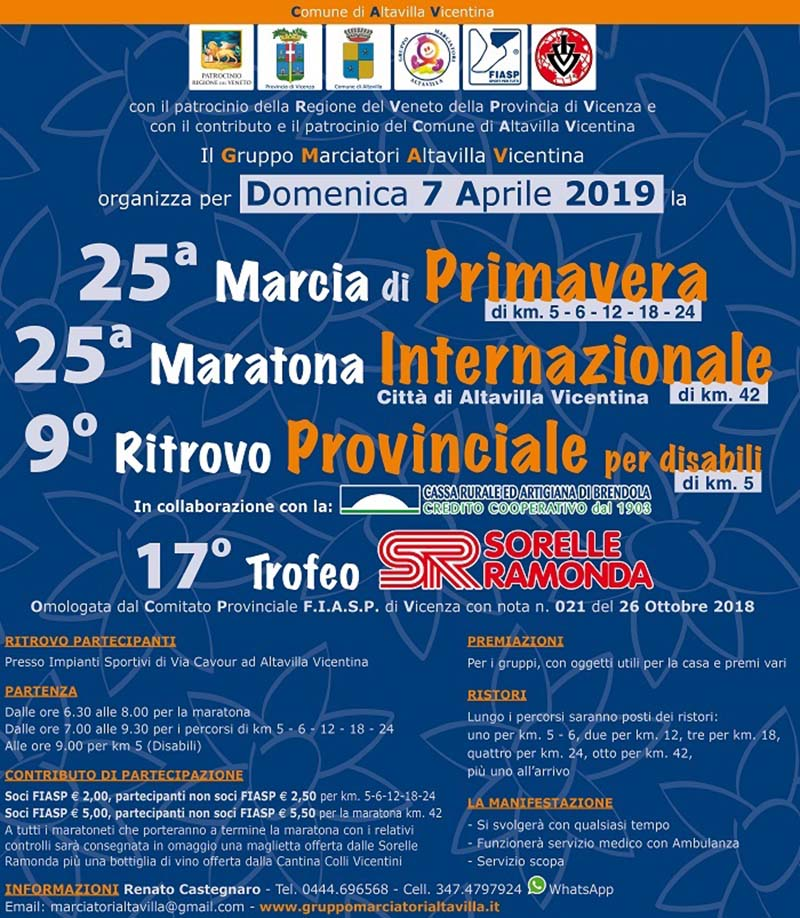 Marcia di Primavera Maratona internazionale città di Altavilla Ritrovo provinciale per disabili trofeo sorelle ramonda