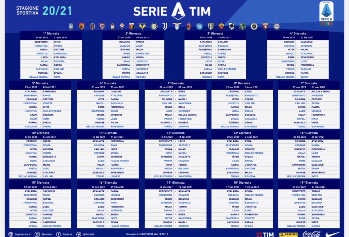 Il calendario 2020 e 2021 della nuova serie A TIM di calcio