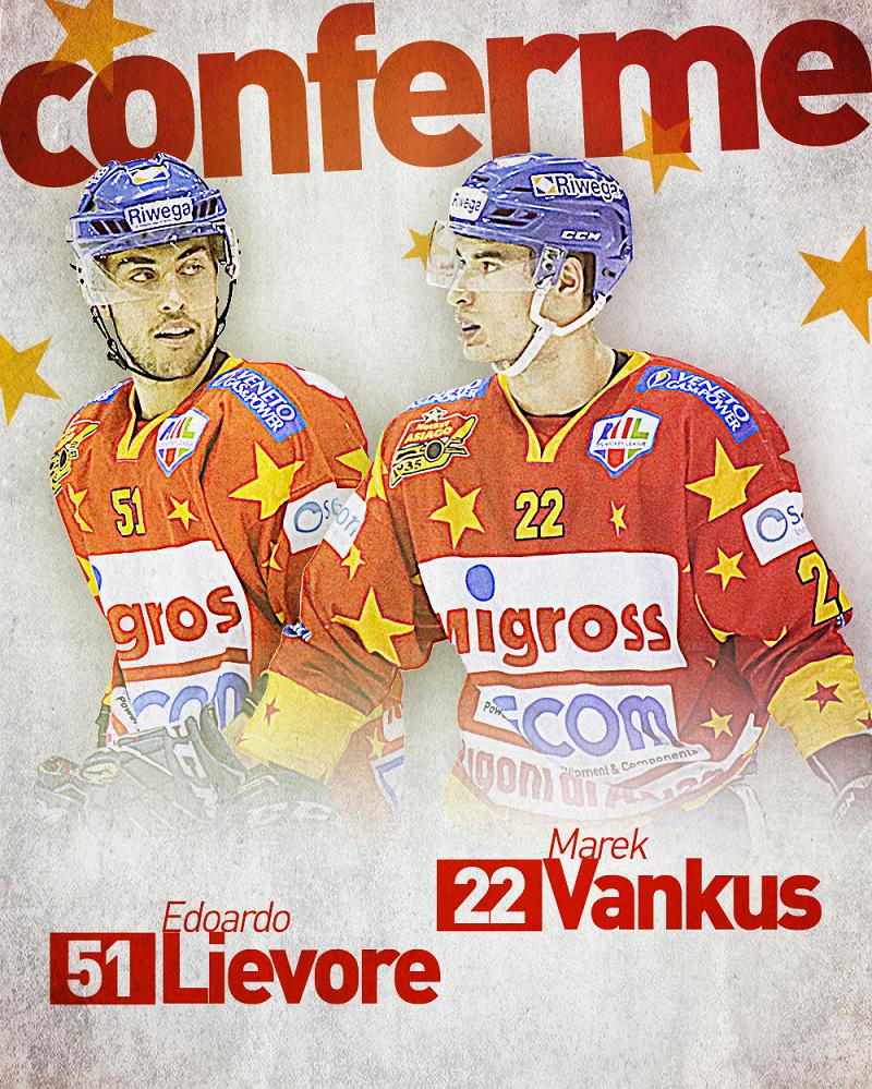 Asiago Hockey conferma per la prossima stagione Marek Vankus ed Edoardo Lievore