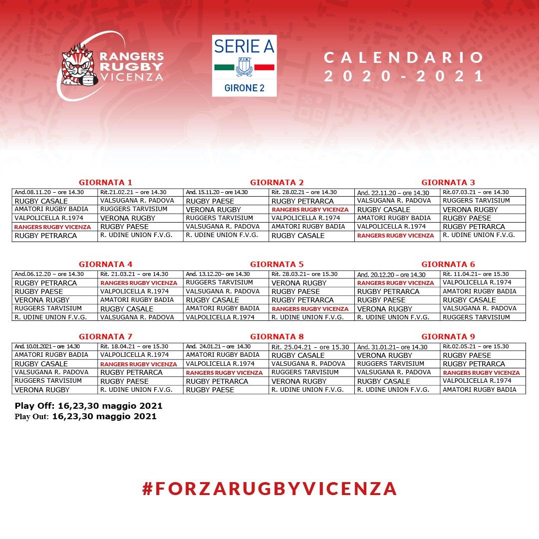 Ecco il Calendario di Serie A rugby 2020/2021 | SPORTvicentino