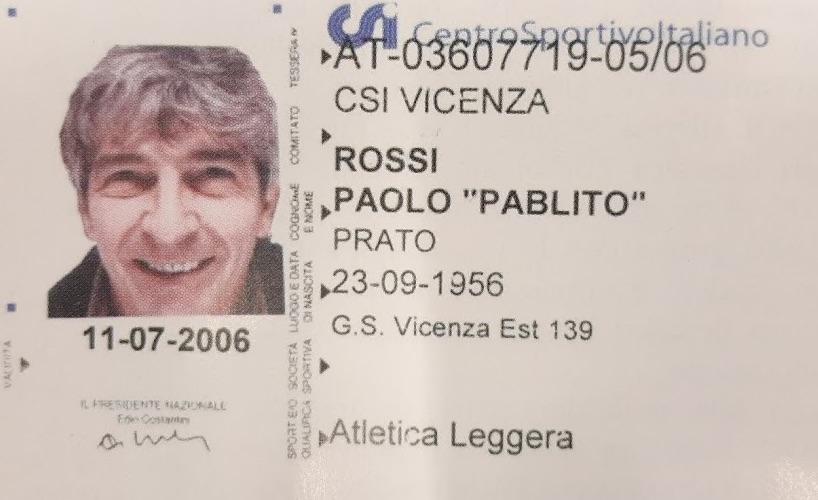 tessera GS Viest Pablito Paolo Rossi