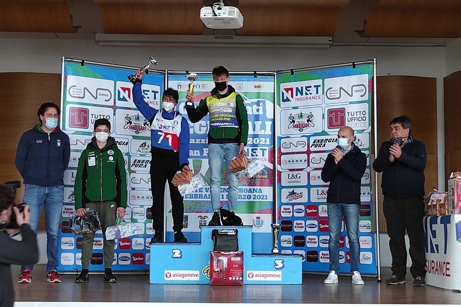 Il podio Ragazzi del Grand Prix Net Insurance (campionato regionale veneto) gigante al Verena